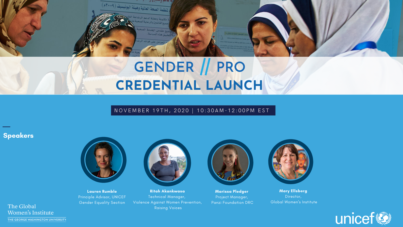 GenderPro webinar flyer with the GenderPro logo in blue, speaker headshots and a picture of women looking over a document together